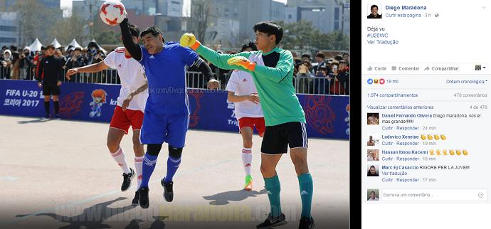 """BLOG: Em jogo festivo na Coreia, Maradona repete """"la mano de Diós"""": """"Déjà vu"""""""
