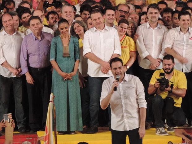 Candidato ao Governo de Pernambuco, Paulo Câmara, discursa na convenção do PSB. (Foto: Katherine Coutinho / G1)