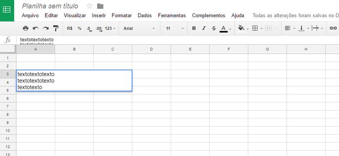 No Google Docs Planilhas o comando crlt + enter faz quebras de linha (Reprodução/Luana Marfim)