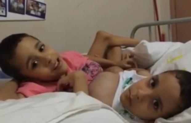 Arthur e Heitor agradecem às mensagens de apoio em Goiânia, Goiás (Foto: Reprodução/ TV Anhanguera)