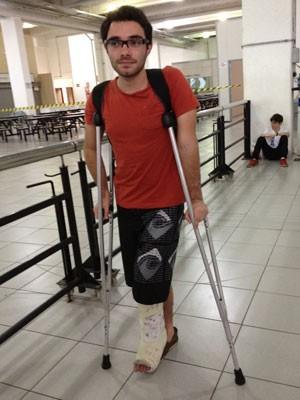 Rafael Tanque foi fazer a prova com o pé machucado (Foto: Ana Carolina Moreno/G1)