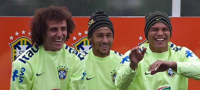 David Luiz, Neymar e Thiago Silva, Copa do Mundo (Foto: Getty Images)