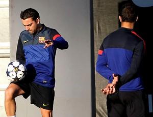 Xavi no treino do Barcelona (Foto: EFE)