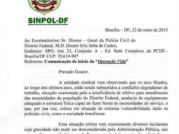Comunicado do Sinpol-DF sobre 'operação padrão'; documento foi entregue à Polícia Civil na sexta (Foto: Reprodução)