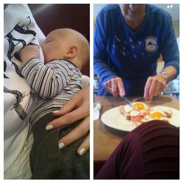 Mãe amamenta bebê em restaurante e fica surpresa com atitude de garçonete (Foto: Reprodução)