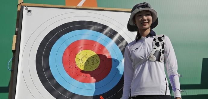 Misun Choi; tiro com arco; coreia; olimpíadas (Foto: AP Photo/Alessandra Tarantino)