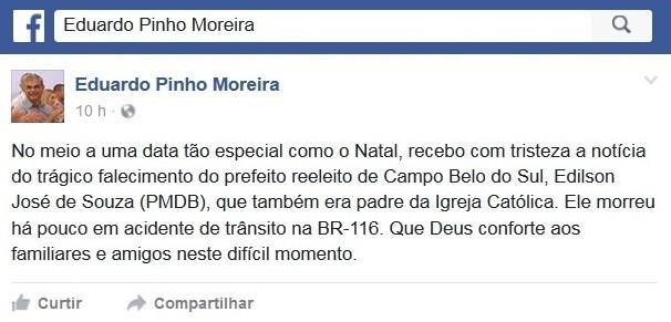 Vice-governador de SC lamentou morte de prefeito  (Foto: Facebook/Reprodução)