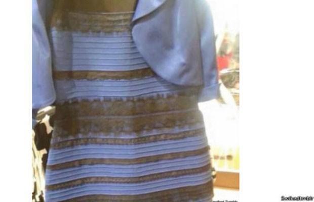 Imagem de vestido publicado no Tumblr gerou discussões sobre sua cor: azul e preto ou dourado e branco. (Foto: Reprodução/BBC)