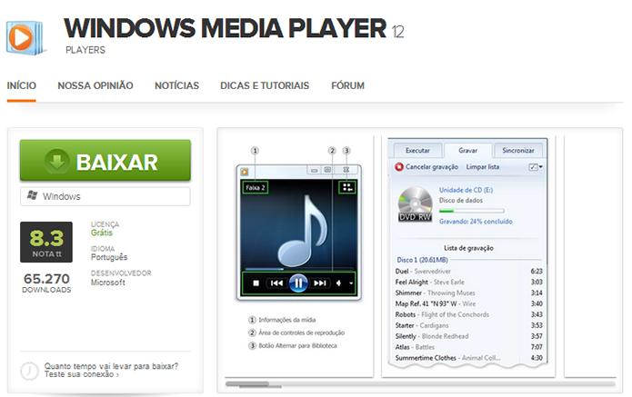 Baixe o Windows Media Player mais recente e instale de novo (Foto: Reprodução/Paulo Alves)