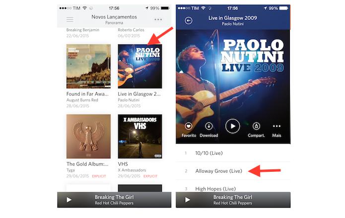 Baixando uma música no Rdio para iPhone (Foto: Reprodução/Marvin Costa)