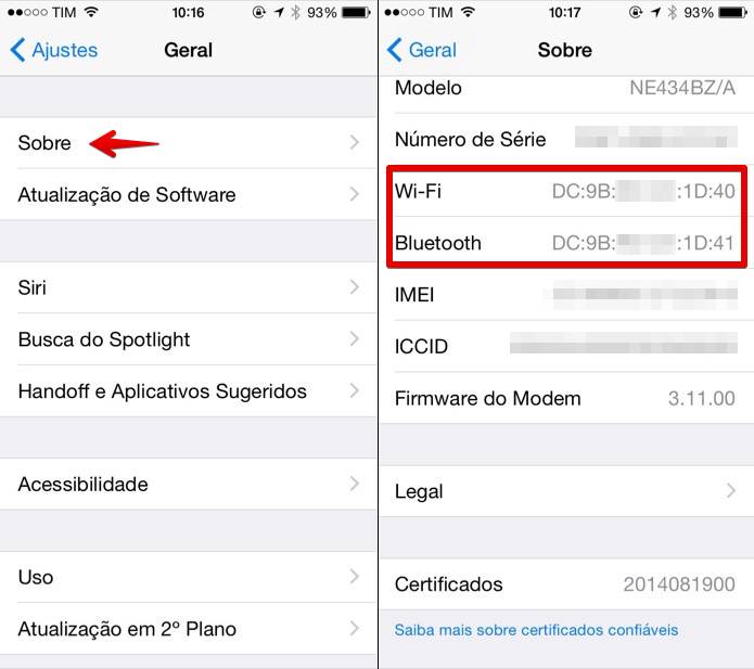 Verificando endereço MAC do iPhone (Foto: Reprodução/Helito Bijora)  (Foto: Verificando endereço MAC do iPhone (Foto: Reprodução/Helito Bijora) )