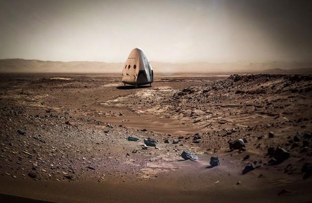 Ilustração de cápsula da SpaceX em Marte (Foto: Reprodução/Twitter/SpaceX)