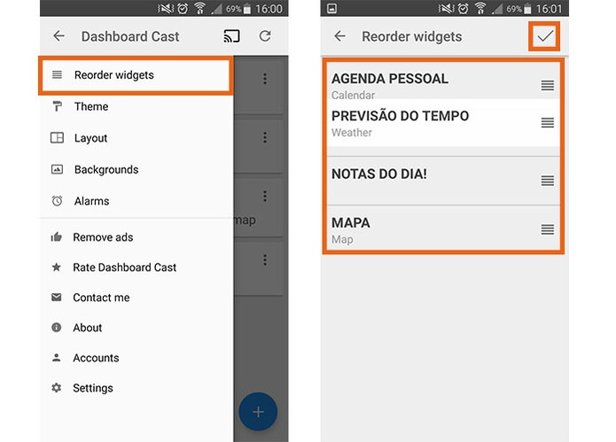 Comece reorganizando os widgets no seu painel (Foto: Reprodução/Barbara Mannara)