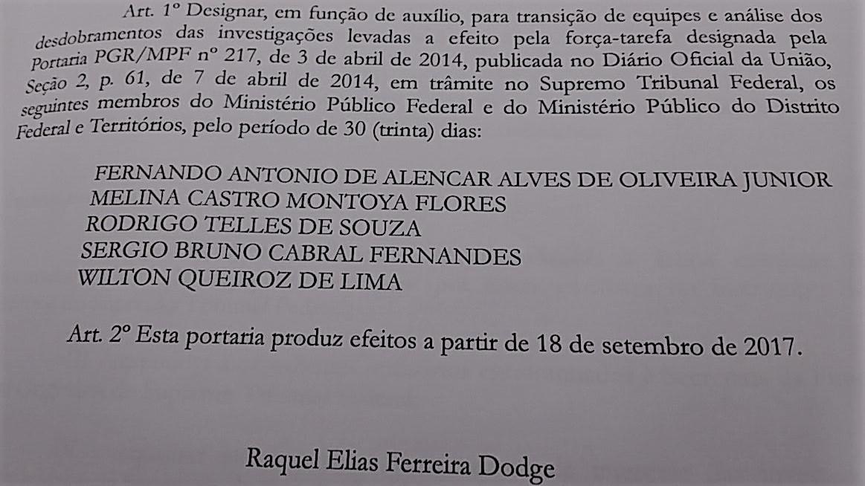 Minuta de portaria a ser publicada por Raquel Dodge trocando a equipe da Lava Jato na PGR   (Foto: Reprodução)