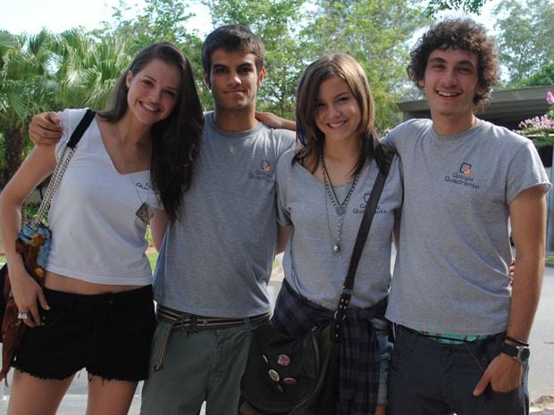 Agatha Moreira, Daniel Blanco, Alice Wegmann eGuilherme Prates comentam quadrado amoroso (Foto: Malhação / Tv Globo)