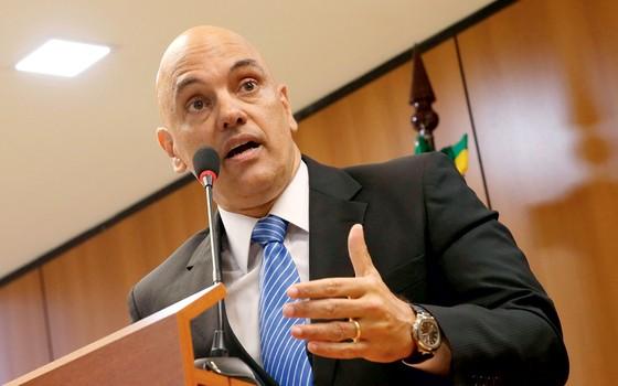 Ministro Alexandre Moraes,na coletiva em que anunciou a operação Hashtag (Foto: JOSE CRUZ AGENCIA BRASIL)