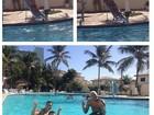 Mulher Moranguinho 'faz cavalinho' em Naldo em piscina de hotel