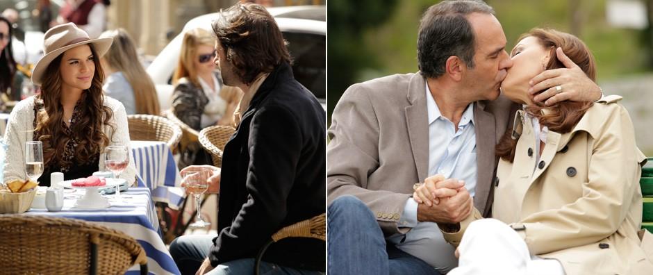 Luiza, Virgílio e Helena superam diferenças e permanecem juntos (Em Família/TV Globo)