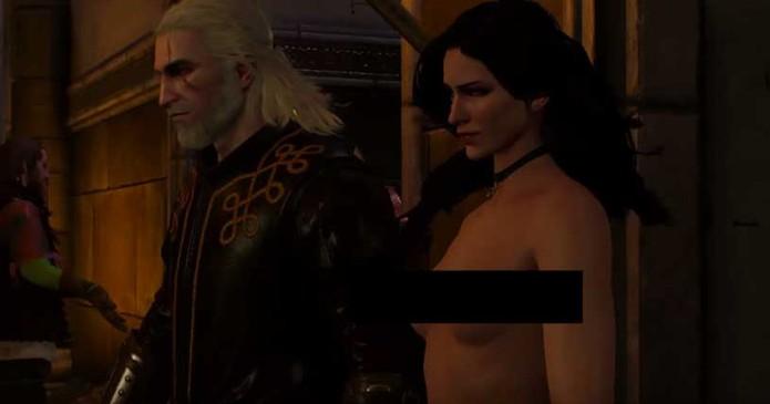 Yennefer aparece nua no bar em um dos bugs de The Witcher 3 (Foto: Reprodução/YouTube)