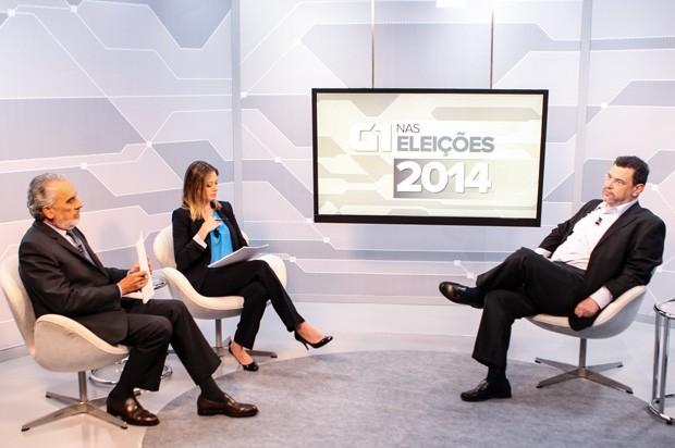 O candidato à Presidência da República Rui Costa Pimenta, em entrevista no estúdio do G1 (Foto: Caio Kenji/G1)