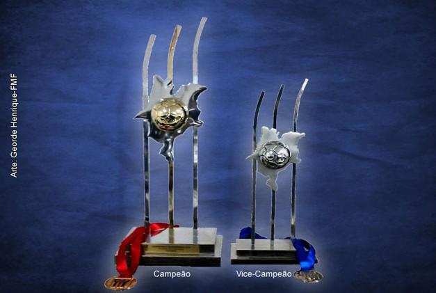 Troféus de campeão e vice do Campeonato Maranhense 2012 (Foto: Montagem: Georde Henrique/FMF)