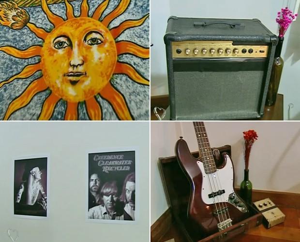 Panos com estampa de sol e aparelhos musicais antigos são a cara do movimento hippie (Foto: Mais Você / TV Globo)