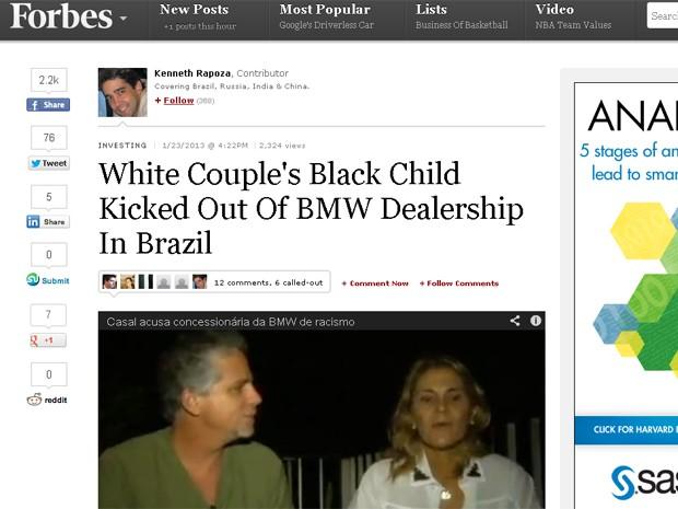 Site da revista americana Forbes publicou episódio de casal que acusa BMW do Rio de racismo (Foto: Reprodução internet)