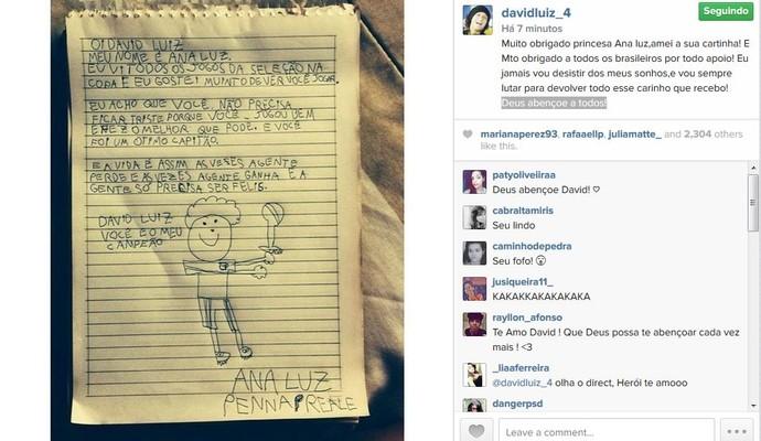 David Luiz envia recado para a pequena Ana Luz, de nove anos (Foto: Reprodução/Instagram)