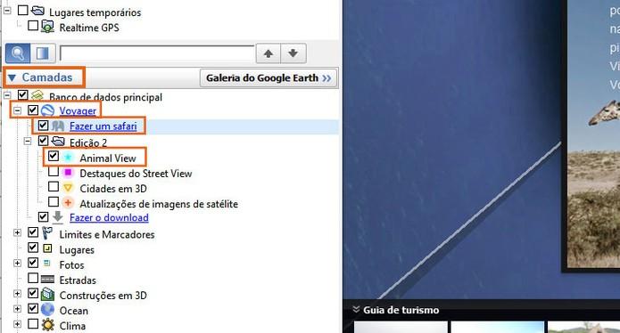 Selecione o item do safári no menu de Camadas do Google Earth (Foto: Reprodução/Barbara Mannara)