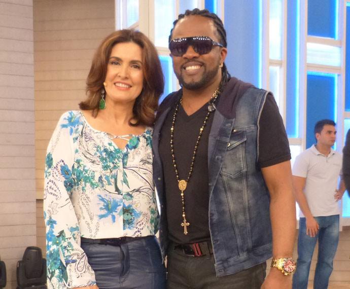 Xande de Pilares com a apresentadora (Foto: Viviane Figueiredo Neto/Gshow)