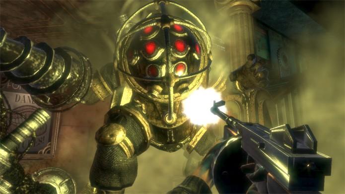 Enfrente o Big Daddy em Bioshock (Foto: Divulgação/2K Games)