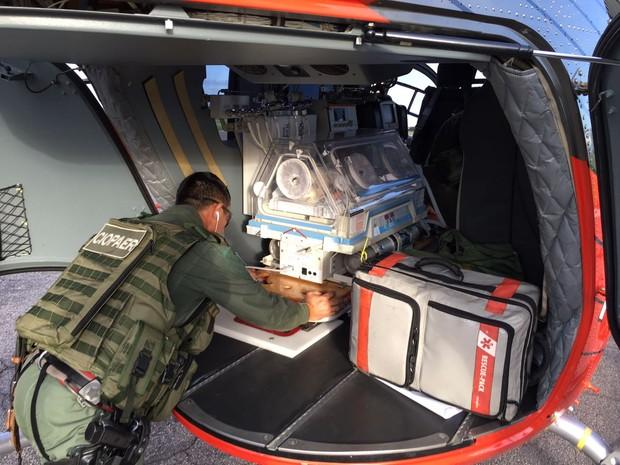 Avião da Ciopaer transporta recém-nascido de Iguatu para Hospital de Sobral (Foto: Ciopaer/Divulgação)