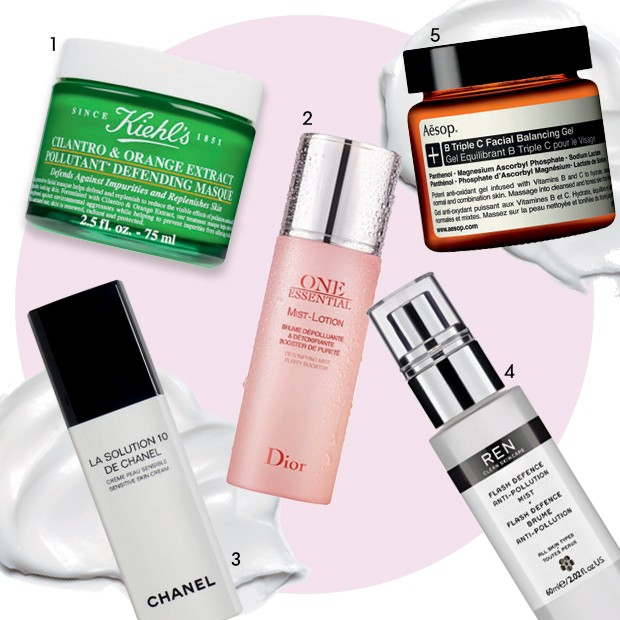 1 Máscara Cilantro & Orange Extract Pollutant Defending, R$ 168, Kiehl's, 2 Mist Lotion One Essential, R$ 279, Dior 3 Hidratante La Solution 10, R$ 470, Chanel 4 Flash Defence Anti-Pollution Mist, US$ 38, Ren 5 Gel facial B Triple C, R$  547, Aesop (Foto: Divulgação)