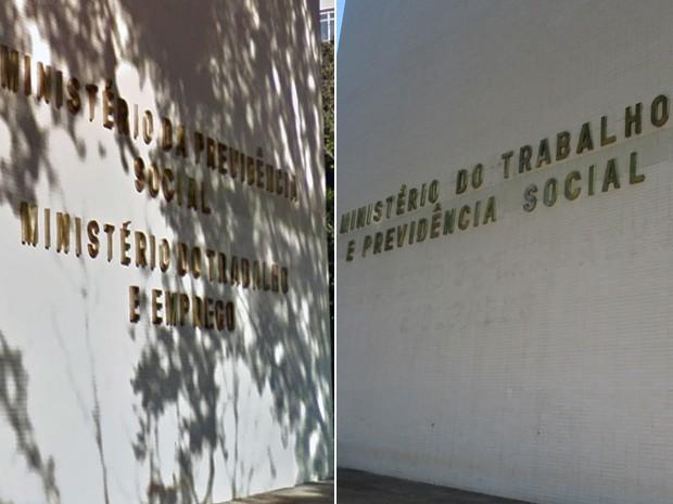 Montagem com a fachada do Ministério do Trabalho e Previdência Social antes e após a fusão das duas pastas (Foto: Google Maps e Gustavo Garcia/G1)