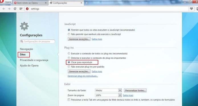 Selecione Clicar para reproduzir para desativar a reprodução automática (Foto: Reprodução/Opera)