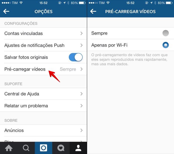 Restringindo pré-carregamento de vídeos do Instagram (Foto: Reprodução/Helito Bijora)