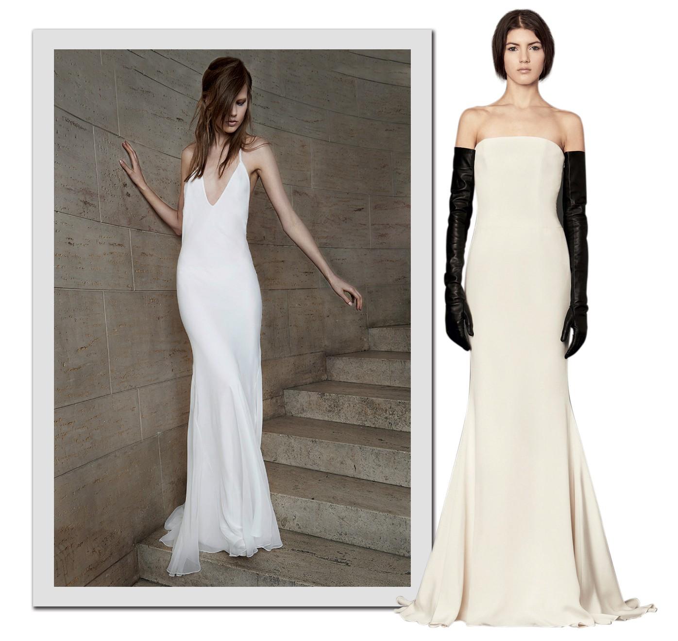 Passarela Clean: Nas �ltimas temporadas, Vera Wang tamb�m incluiu modelos minimalistas em suas cole��es bridal (Foto: Getty Images, Cond� Nast Digita L Archive e Divulga��o)