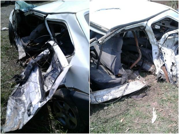 Carro quase partiu ao meio com a força da colisão (Foto: Fast Help/Divulgação)