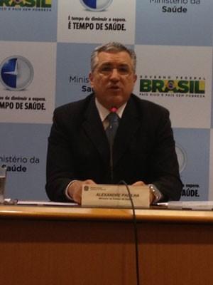 Alexandre Padilha, ministro da Saúde, em coletiva nesta quinta (16) (Foto: Mariana Oliveira/G1)