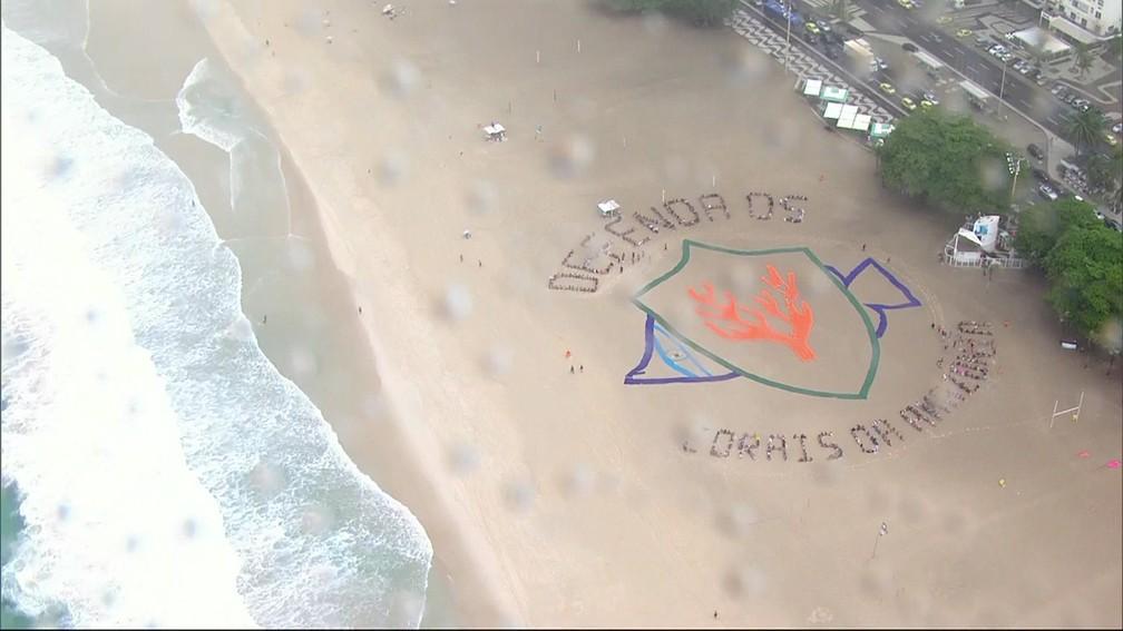 Mensagem quer conscientizar sobre a importância de defender os corais da Amazônia (Foto: Reprodução/ TV Globo)