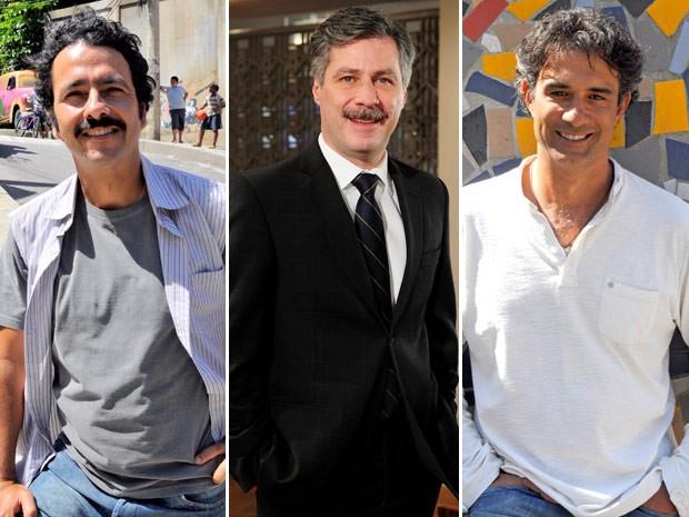 Marcos Palmeira, Leopoldo Pacheco e Marcos Pasquim respondem: qual o borogodó da Penha? (Foto: Cheias de Charme / TV Globo)
