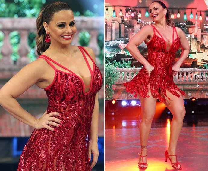 A campeã do Dança 2015 pediu para o look do samba ser vermelho por causa do Salgueiro (Foto: Carol Caminha / Gshow)