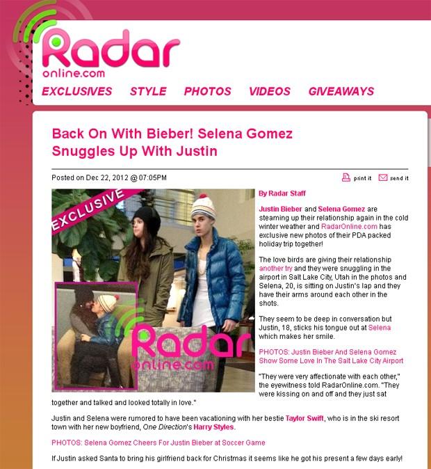 Justin Bieber e Selena Gomez (Foto: Radar Online/Reprodução)