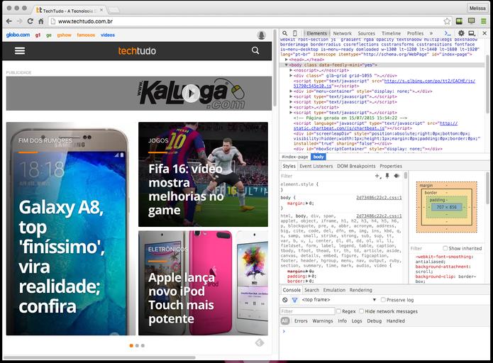 Ferramenta Developer Tools no Google Chrome Canary  (Foto: Reprodução/Google Chrome)