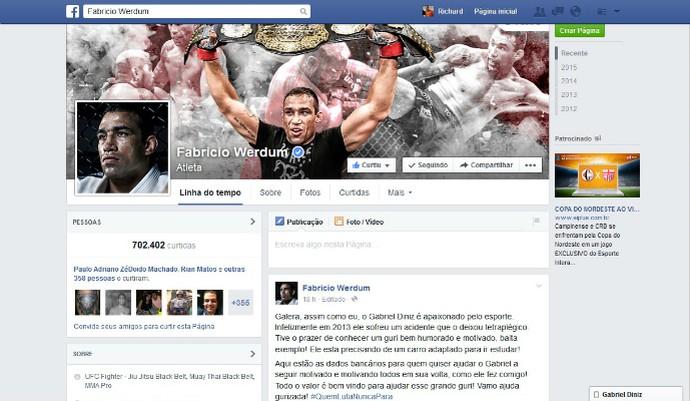 Postagem do lutador do UFC Fabrício Werdum em rede social (Foto: Reprodução/Facebook)