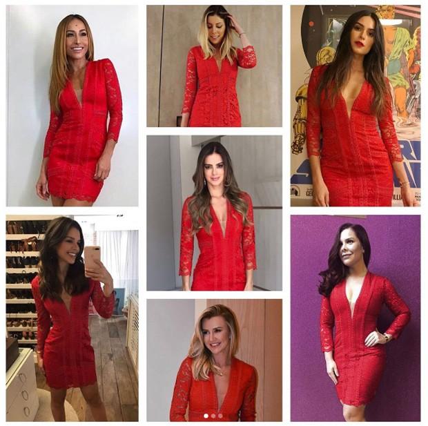 Mariana Rios, Fernanda Souza, Thaila Ayala, Sabrina Sato, Vera Viel, Ana Paula Siebert e Fabiana Justus  com o mesmo look (Foto: Reprodução / Instagram)