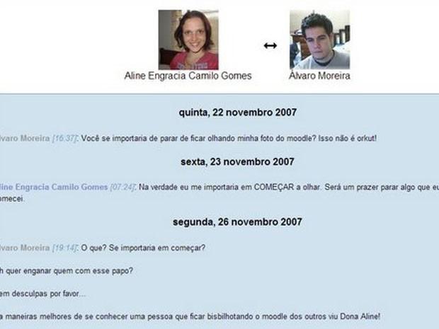 Trecho da primeira conversa do casal na plataforma virtual que usavam na Universidade de Brasília (Foto: Moodle/Reprodução)