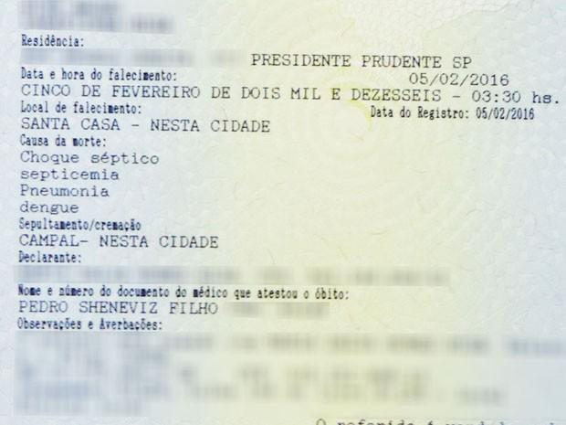 Certidão de Óbito aponta dengue como causa da morte de Jorge Higa (Foto: Reprodução)