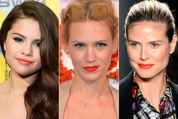 Batom Laranja - Selena Gomez, January Jones e Heidi Klum (Foto: Getty Images)