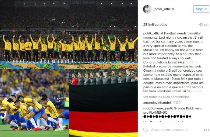 BLOG: Apaixonado pelo Brasil, Podolski parabeniza seleção pelo ouro olímpico